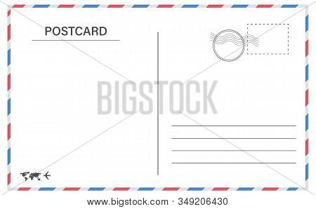 Postcard Border Template. Creative Vector Illustration Of Postcard