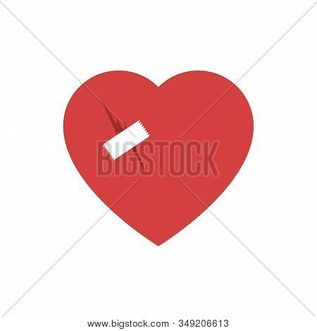 Broken Heart Flat Icon With Patch Vector Illustration