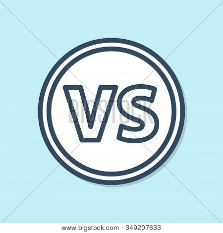 Blue Line Vs Versus Battle Icon Isolated On Blue Background. Competition Vs Match Game, Martial Batt