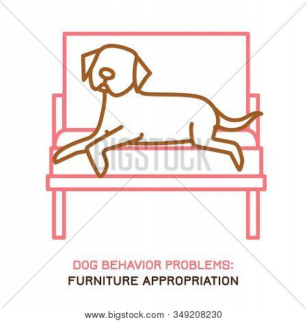 Dog Behavior Problem Icon. Domestic Animal Or Pet Language. Doggy Laying On Armchair. Furniture Appr
