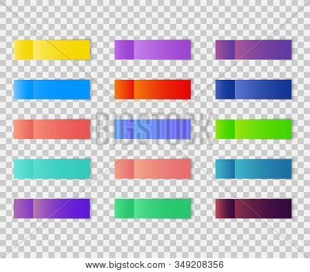 Post Note Stickers Isolated On Transparent Background. Post Paper Sticky Tape Set With Shadow. Offic