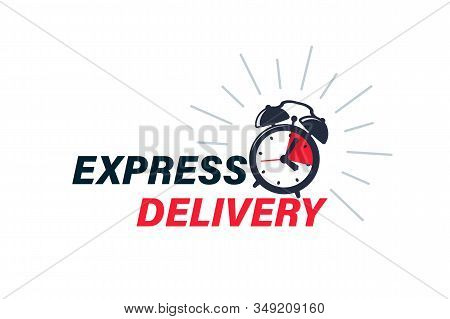 Express Delivery Icon For Apps And Website. Timer And Express Delivery Inscription. Delivery Concept