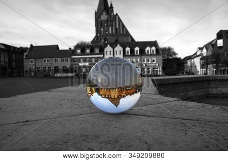 View To The Crystal Ball, Germany, Barth, City Center. Lensball. Another Perspective. Black And Whit