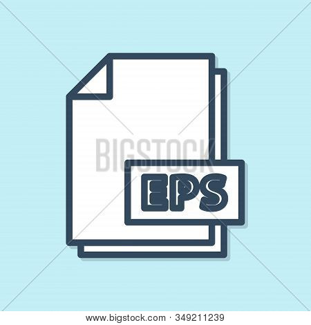 Blue Line Eps File Document. Download Eps Button Icon Isolated On Blue Background. Eps File Symbol.