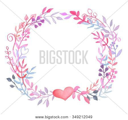 Romantic Floral Wreath With Heart On White Background. Pink Blue Leafy Wreath For Valentine Day Card