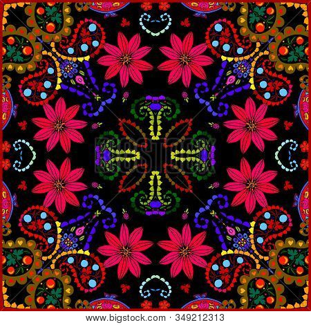 Bright Square Pattern With Red Flowers And Paisley. Colorful Print For Bandana, Scarf, Pillowcase, R