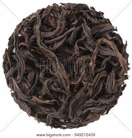 Chinese Roasted Tea Da Hong Pao Big Red Robe Wu Yi Shan Rock Oolong Tea In Round Shape Isolated On W