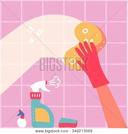 Cleaning Service Conpept. One Hand In Red Rubber Glove With Spray And Sponge Wash Pink Wall Tiles. V