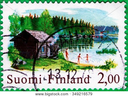 Saint Petersburg, Russia - February 01, 2020: Postage Stamps Issued In The Finland With The Image Of