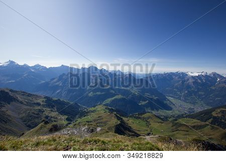 Reuss Valley With Mountains In The Background In Central Switzerland