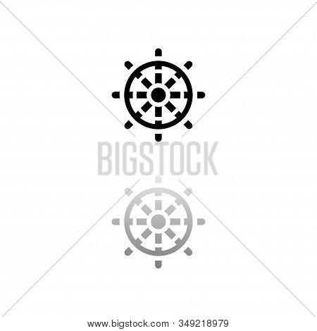 Rudder. Black Symbol On White Background. Simple Illustration. Flat Vector Icon. Mirror Reflection S