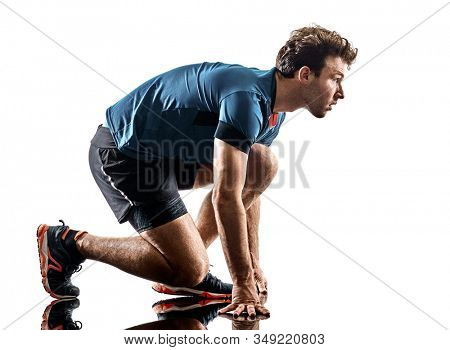 one caucasian runner running jogger jogger young man in studio isolated on white background