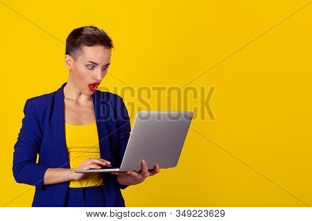 Surprised Shocked Young Business Woman Short Hair Using Laptop Looking At Computer Screen Blown Away