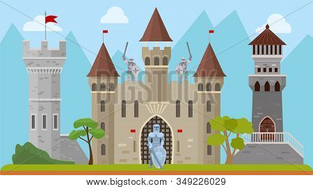 Knights And Old Medieval Castle Vector Illustration. Ancient History Architecture Fortress With Towe