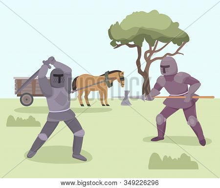 Battle Of Knights Medieval Warriors Vector Illustration. Knights Fighting With Armor, Helmets, Sword