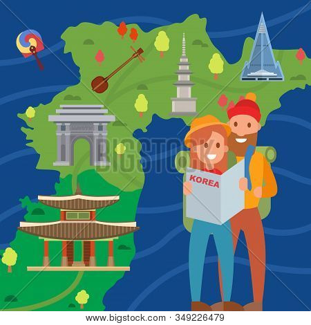 Couple Of Travelers On Background Of Korea Map Vector Illustration. Smiling Young Man And Woman Tour