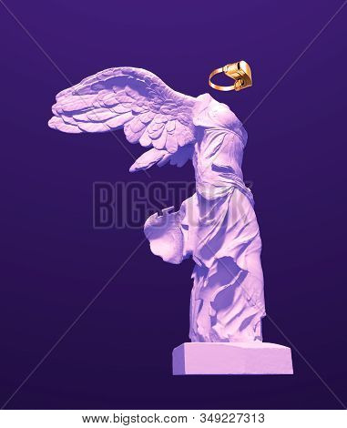3d Model Of Winged Victory With Golden Vr Glasses On Purple Background. 3d Illustration.