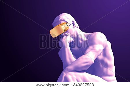 Sculpture Thinker With Golden Vr Glasses On Purple Background. 3d Illustration.