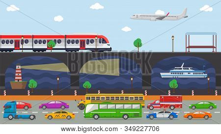City Transport Concept Vector Illustration. Urban Road Embankment Street Transport Vehicles Autos Ca