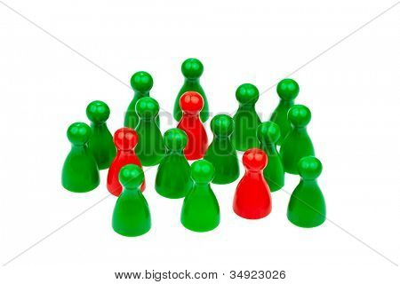 red and green characters. in contrast team. quota for women in the workplace.