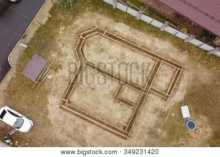 Moscow, Russia - November 10, 2019: The Foundation Of The House. Building A House, Digging The Found