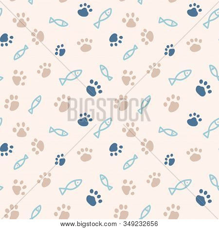 Seamless Pattern With Simple Fish And Paw Print From Cat Steps. Color Vector Illustration. Design Fo