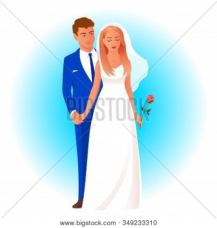 Beautiful Newlywed Couple In Wedding Attire. The Bride Stands With A Rose, Behind Her The Groom Gent
