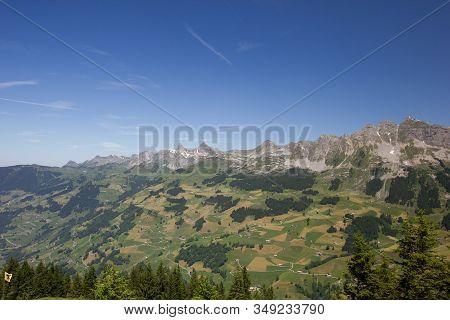 Beautiful Panorama Over The Schaechental In Switzerland