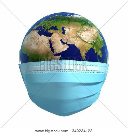 Earth In Medical Mask. Concept Of Coronavirus Protection. 3d Illustration.