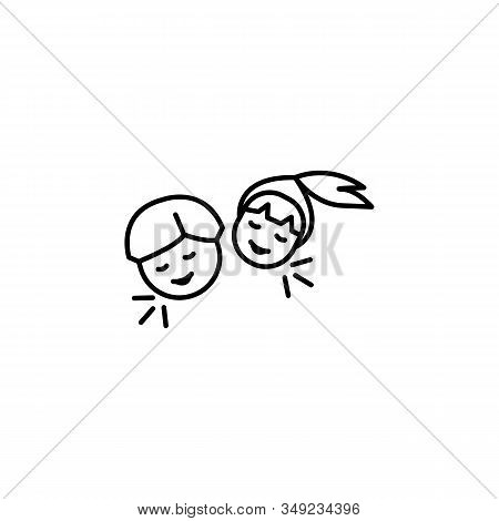 Laugh, Children, Family Line Icon On White Background
