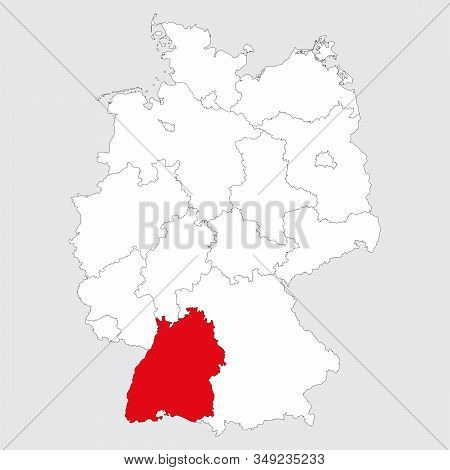 Baden Wurttemberg Province Highlighted Germany Political Map. Gray Background. German Map. Business