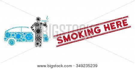Pathogen Mosaic Smoking Taxi Driver Icon And Red Smoking Here Watermark Between Double Parallel Line