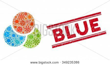 Infectious Mosaic Rgb Color Circles Icon And Red Blue Seal Between Double Parallel Lines. Mosaic Vec