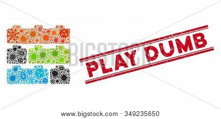 Flu Mosaic Toy Constructor Bricks Icon And Red Play Dumb Seal Stamp Between Double Parallel Lines. M