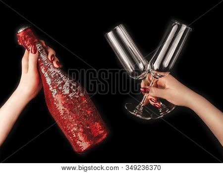 Beautiful Female Hands With Trendy Red Manicure Holding Champagne Bottle In Cover Spangled With Vibr