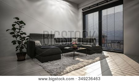 Spacious living room with high window with horizontal blinds, cozy grey corner couch and potted indoor plant against plain grey wall. 3d Rendering