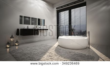 Bright interior of spacious modern bathroom with white ceramic freestanding oval bathtub in the sunlight from high window with horizontal blinds. 3d Rendering
