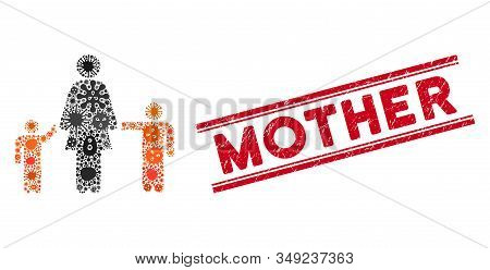 Contagious Mosaic Mother And Children Icon And Red Mother Seal Stamp Between Double Parallel Lines.