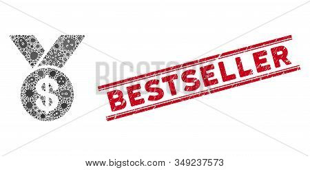 Infection Mosaic Bestseller Medal Icon And Red Bestseller Seal Between Double Parallel Lines. Mosaic