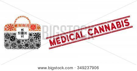 Infected Mosaic Medical Kit Icon And Red Medical Cannabis Seal Stamp Between Double Parallel Lines.