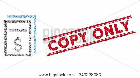 Biohazard Collage Price Copy Page Icon And Red Copy Only Seal Between Double Parallel Lines. Mosaic