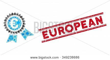 Infected Collage European Guarantee Seal Icon And Red European Seal Stamp Between Double Parallel Li