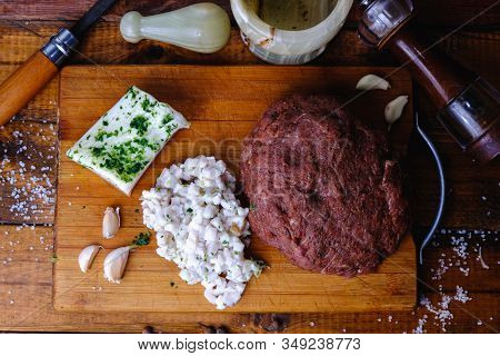 Cooking Pork Sausages Composition On A Wooden Background