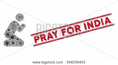 Pandemic Mosaic Pray Pose Icon And Red Pray For India Seal Stamp Between Double Parallel Lines. Mosa