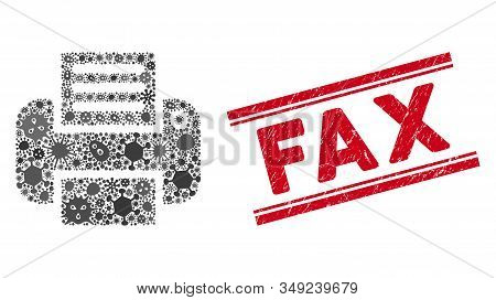Biohazard Mosaic Printer Icon And Red Fax Watermark Between Double Parallel Lines. Mosaic Vector Is