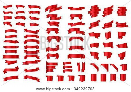 Set Of Ribbons And Labels. Red Ribbon Banners And Flags. Ribbons Banners Flat Isolated On White Back