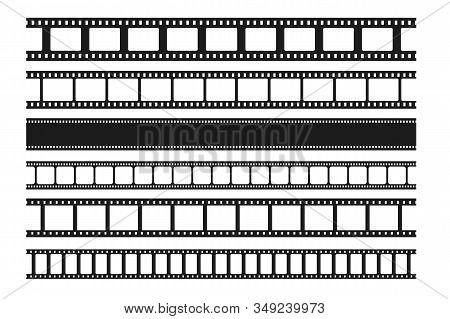 Blank Cinema Film Strips Collection. Film Frame. Old Retro Cinema Strip. Vector Photo Frame. Seamles