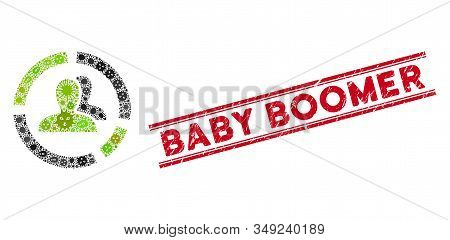 Microbe Mosaic Demography Diagram Icon And Red Baby Boomer Stamp Between Double Parallel Lines. Mosa