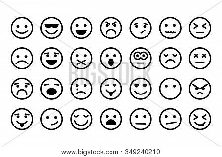 Emotion Icons. Set Of Round Lines Emoji Symbols. Smile Icon. Emoticon Or Emoji Illustration Icons