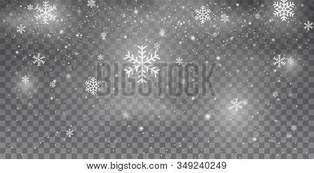 Snowflakes. Snow. Snowfall. Christmas Snow For The New Year. White Glitter Snowflakes. Heavy Snowfal